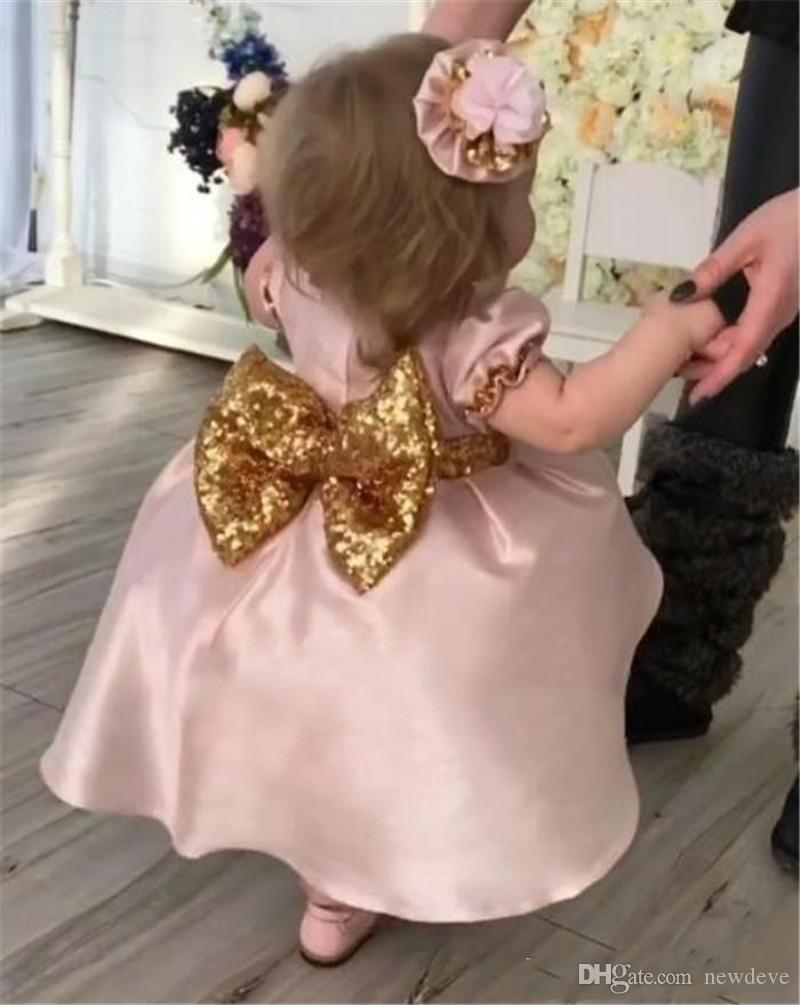 Blush Flower Girls Dresses With Bow For Weddings Ball Gown Cupcake Pageant Dress Girl Tea Length Kids Formal Gowns Big Bow Back