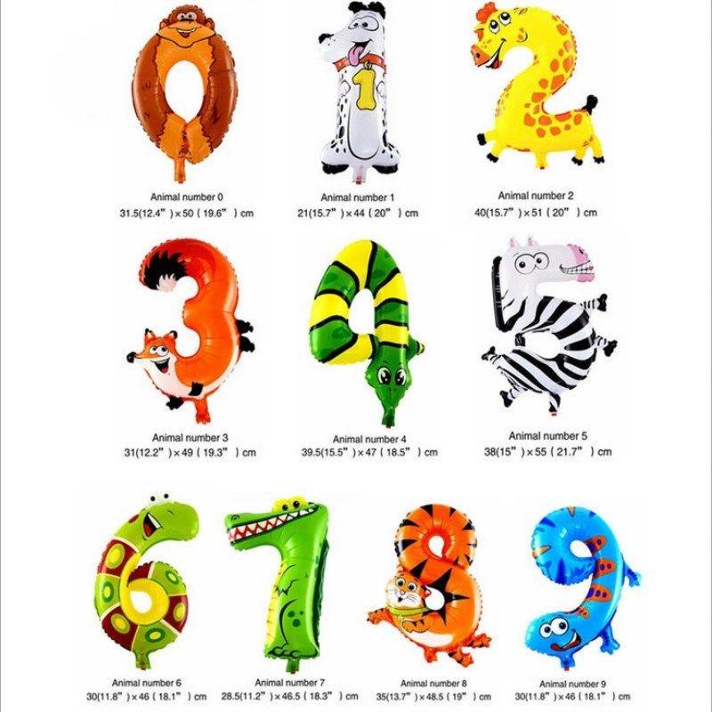 500 adet / grup 16 inç Hayvan Arapça rakamları Balon Karikatür Folyo Doğum Günü Düğün Parti Dekorasyon Çocuk Oyuncakları için Balonlar