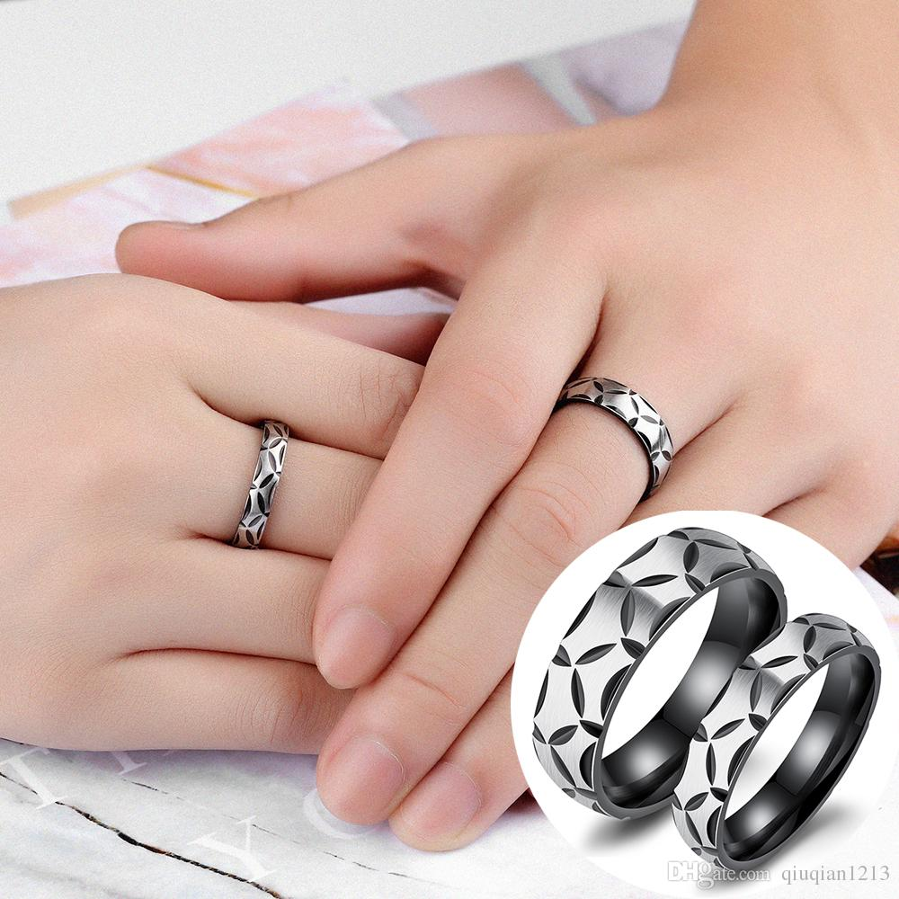 2018 New Women Men Stainless Steel Couples Rings Bride Groom