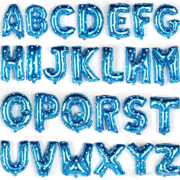 16 inch Foil Balloon Alphabet English Letter A-Z Inflatable Aluminum Balloons Birthday Wedding Party Decoration WT049
