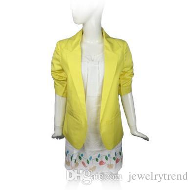 Nova Primavera Outono Blazer Blazer das Mulheres Casaco 3/4 Sem Botão Jaqueta Suit Terno de Negócio Dama Cardigan C3046