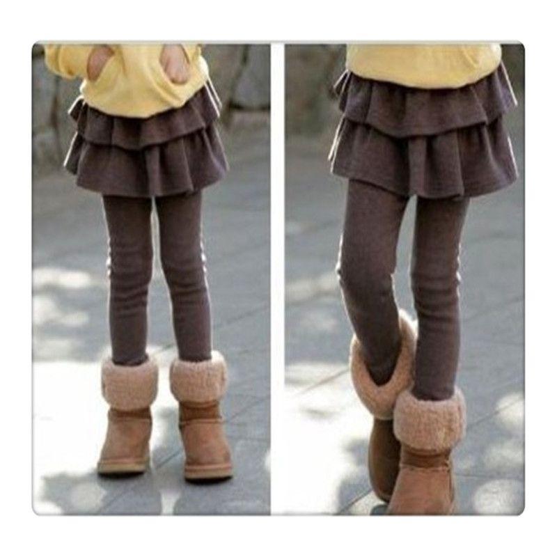 2017 New Girls Leggings Stretchy Fleece Lined Footless Tutu Pantskirt Leggings With Ruffle Tutu Skirt For Girls Kids Double Culottes DHL