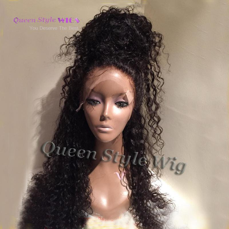 Long Black Water Curly Hair Heat Resistant Glueless Synthetic Lace Front/ Full Lac Wig Loose Curly Wigs For Black Woman