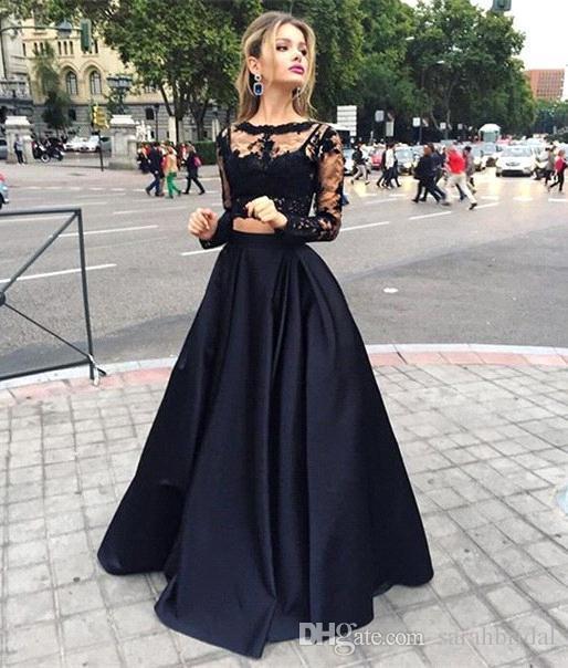 Venta caliente Negro Barato de dos piezas Vestidos de baile formal Vestidos de manga larga con encaje Top Satin A line Floor Length Evening Event Wears