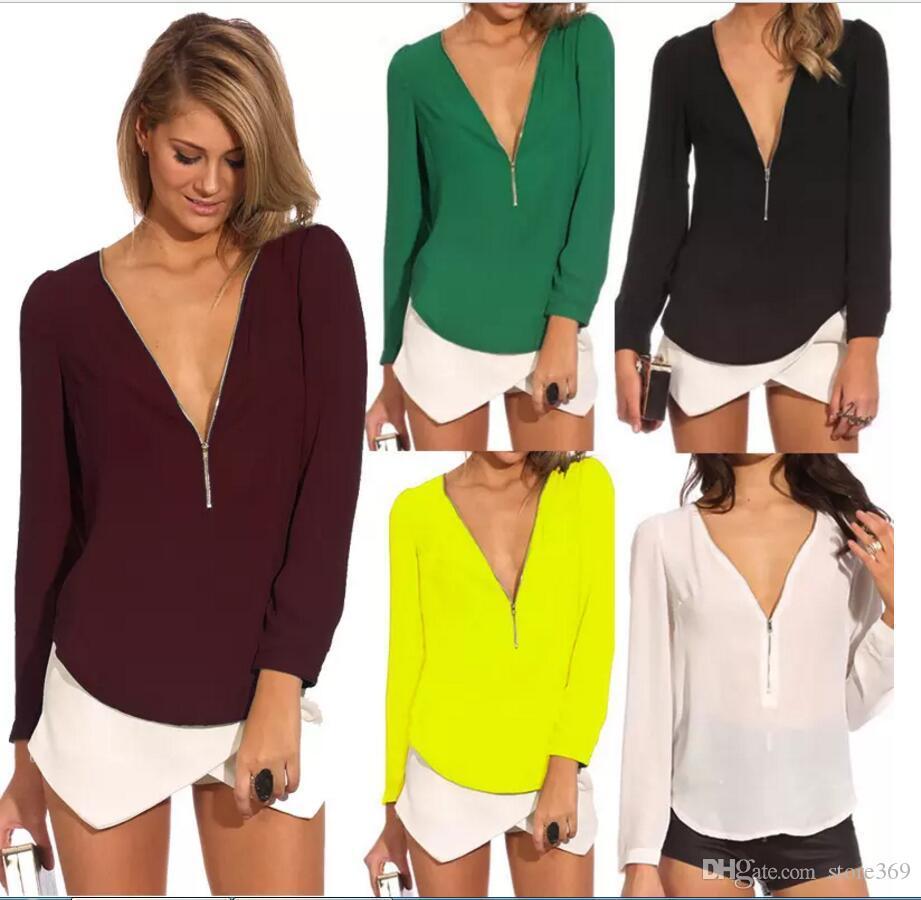 2017 Sexy Women'S Zipper V Neck Chiffon Shirt Blouse Tops Long ...