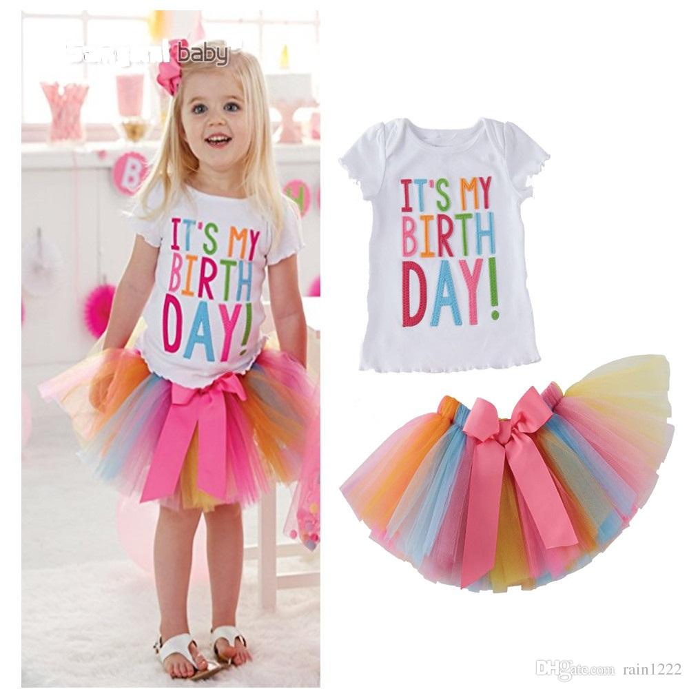 2019 Girls Birthday T Shirts Tutu Skirts Suits Outfits Princess Short Sleeve Letter Tops Tees TUTU Party Clothing Sets 1 5 Years Old From Rain1222