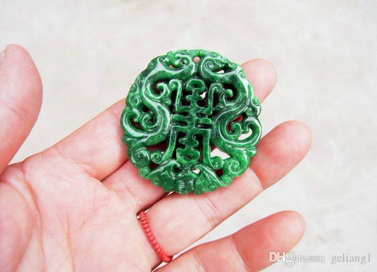 Натуральный зеленый нефритовый, чистый ручной двойной дракон благословения. Очаровательный. Талисман - ожерелье пенда