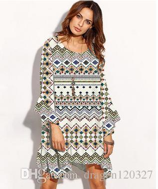 5fb7112cc2b 2017 Boho Dress Plus Size Women Summer Bohemian Print Long Sleeve Irregular  Hem Casual Dresses Flare Sleeve Vestidos Ethnic Fashion Clothing Canada  2019 ...