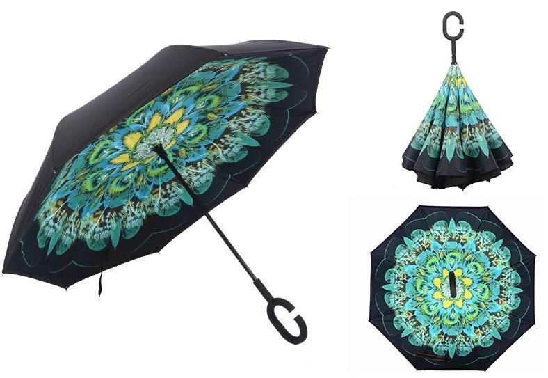 à prova de vento reverso Folding Double Layer invertido Chuva Umbrella Auto suporte mãos Inside Out Chuva Protecção C-gancho para carro