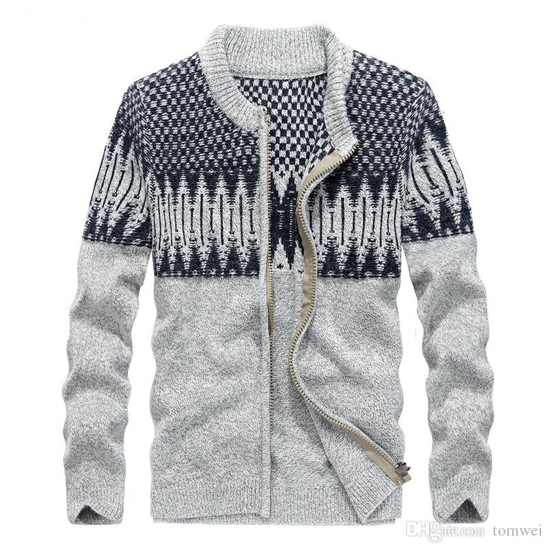 2018 Cotton Sweaters Mens Knitted Cardigan Zipper Men Wool ...