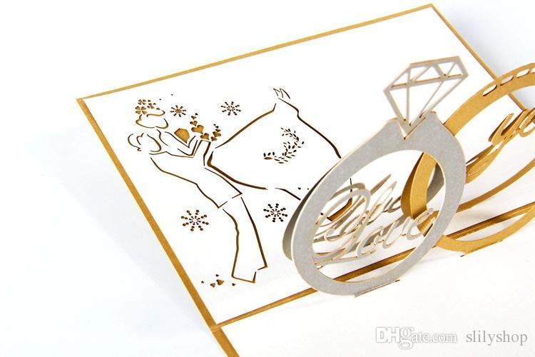 3D 팝업 레이저 잘라 발렌타인 인사말 엽서 봉투 빈티지 kirigami 종이 접기와 함께 감사합니다 감사합니다 카드