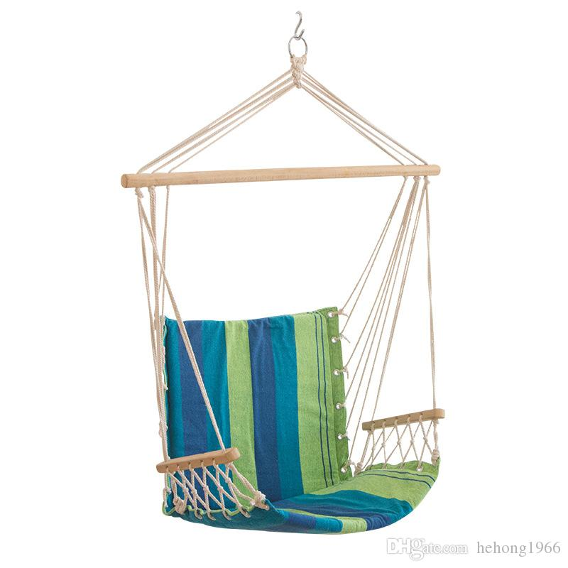 Canvas Striped Hammocks Porch Camping Rope Patio Swing Seat Chairs With Armrests Indoor And Outdoor Hanging Chair New Arrival 55xl A