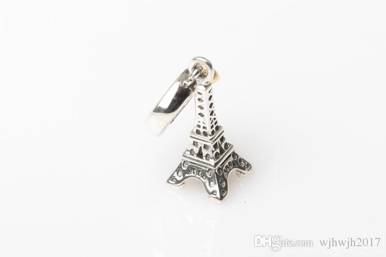 Edlen Schmuck 925 Sterling Silber Eiffelturm baumeln Charme Anhänger mit 14 Karat vergoldet Herz für Frauen Für Pandora Armbänder DIY Making