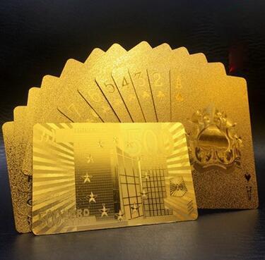Золотая колода игральных карт покер с золотой фольгой Волшебная карта Пластиковый покер Прочная водонепроницаемая карта 3 дизайна Доллар США / Евро Стиль / Общий стиль