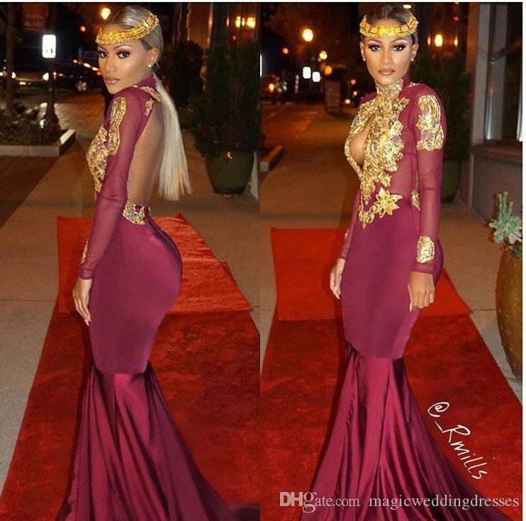Sexy Keyhole Back Mermaid Prom Evening Dresses With Gold Lace Long Sleeves Plus Size 2017 Sexy Burgundy Black Special Occasion Gowns Cheap