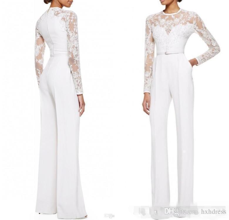 2019 yeni Beyaz Anne Gelin Pant Suits Ile Tulum Uzun Kollu Dantel Süslenmiş Kadınlar Örgün Akşam Giyim Custom Made 117