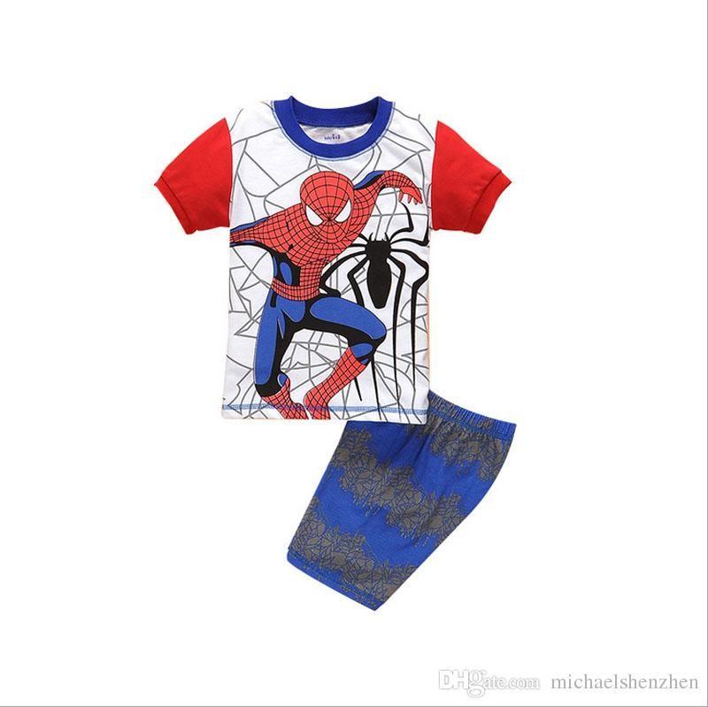 Jungen Spiderman Homecoming Pyjamas Anzüge DHL Kinder Rächer Captain America Iron Man Kurzarm T-Shirt + Shorts Anzug B001