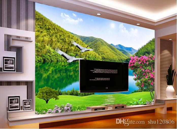 3d room wallpaper custom photo mural Mountain lake scenery picture home decor background painting 3d wall murals wall paper for walls 3 d