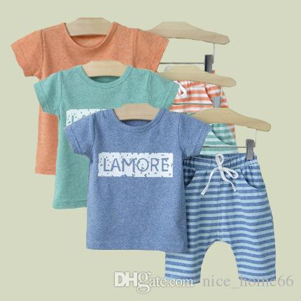 Summer New Baby Boys Sets Short Sleeve Tops T-shirt+ Striped Shorts Set Kids Outfits Children Cotton Clothing Sets