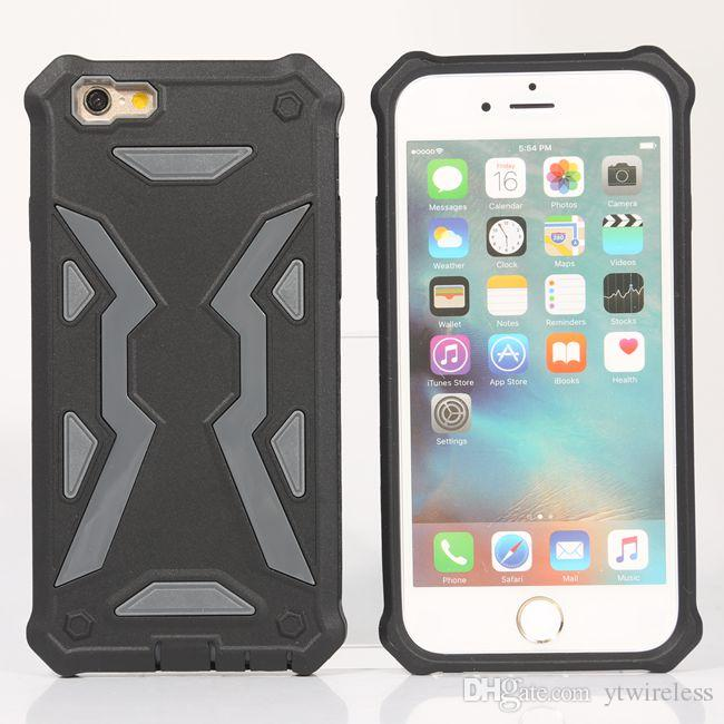 For iPhone 8 Plus X 7 6S Cheap PC TPU Dual Layer Hard Stylish Hybrid Defender Armor Cell Phone Case Casing Opp Bag