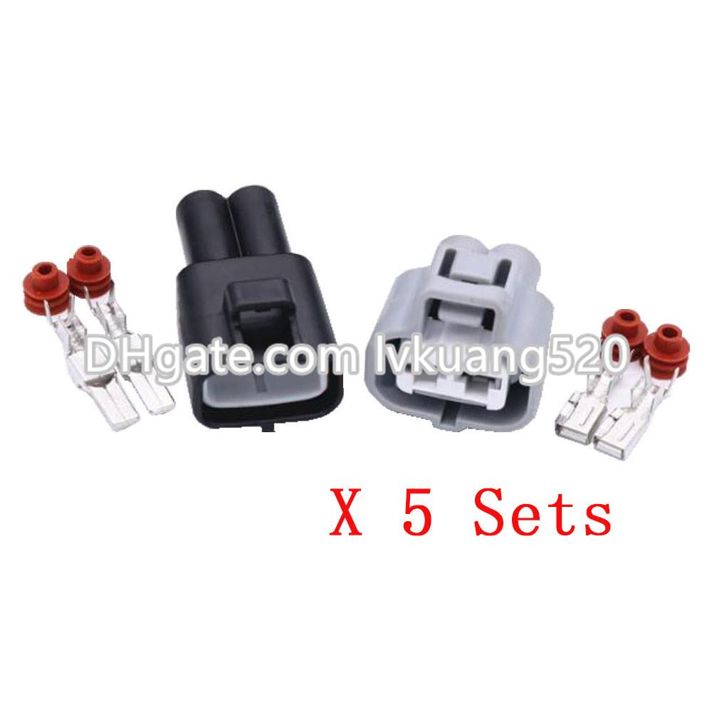 5 Sets 2 pin socket HID harness connectors, connector with terminal DJ7021B-4.8-11/21