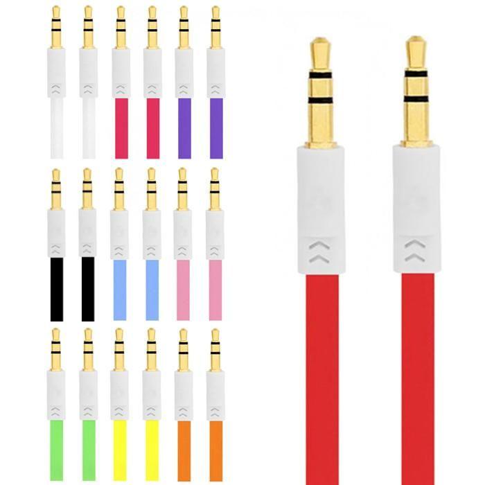 1M flache Nudel Audiokabel männlich zu männlichen Metall Port Linie Stereo Aux Kabel Verlängerung flache Schnur für iphone 4 4s 5 5s 6 6 plus Samsung Kopfhörer