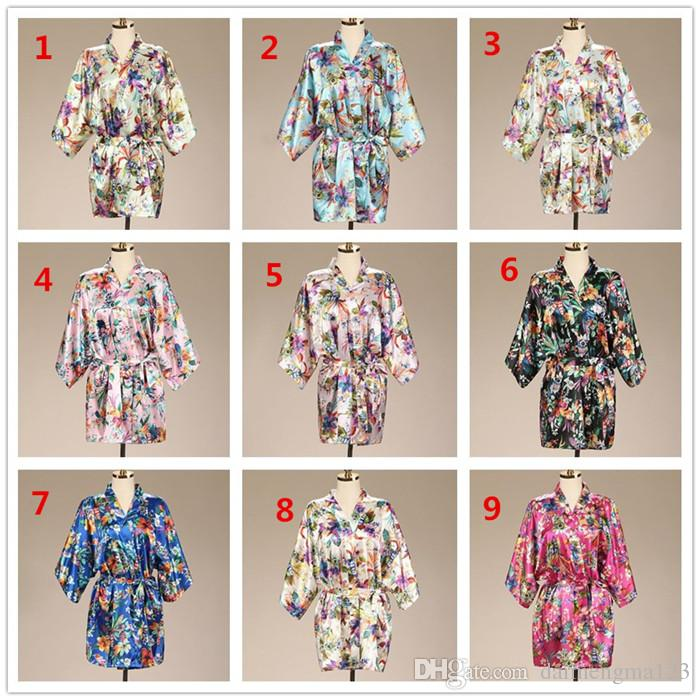 434887517c 2019 Wedding Short Bathrobe Silk Robes Satin Robes Womens Pijamas Print  Flower Purple Short Sleeve Kimono Robe Silk Dressing M042 From  Daimengma123