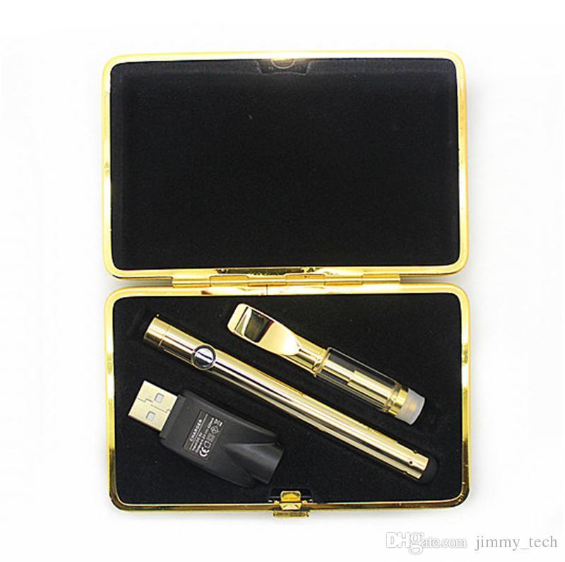Лучшее качество воск масло испаритель мини Vape pen золотой цвет бутон сенсорный аккумулятор классический пустой картридж для густой нефти DHL бесплатная доставка