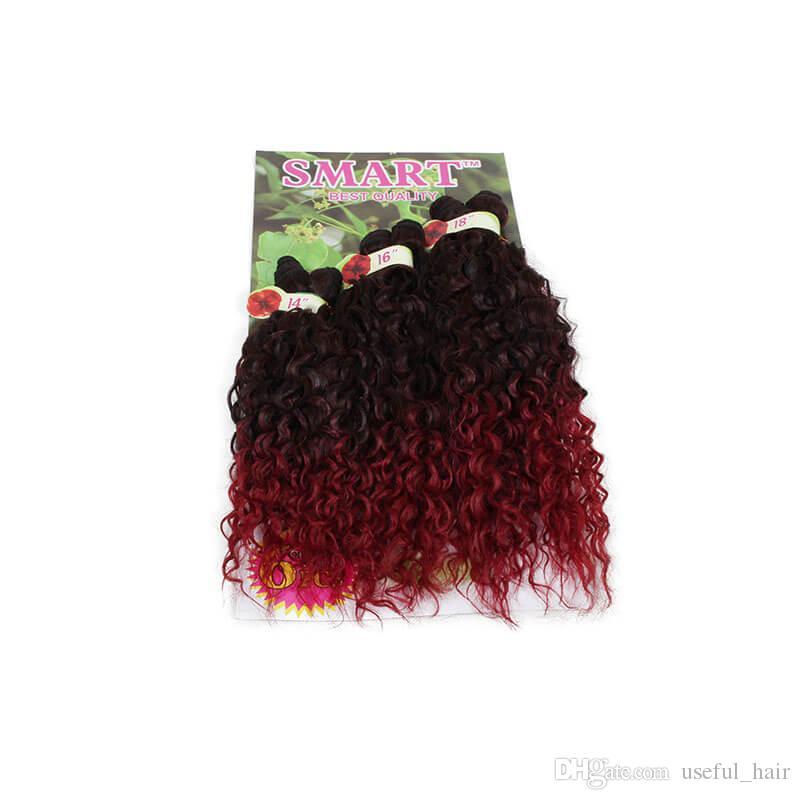 Alta qualidade 6 pçs / lote extensões de cabelo weave sintético Jerry curly ombre kanekalon marrom encaracolado crochet roxo trança de cabelo para balck