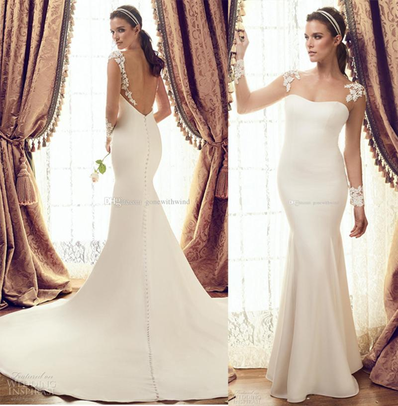 12bbbe93b6826 Simple Clean Elegant Illusion Long Sleeves Wedding Dresses 2017 Mikaella  Bridal Sweetheart Neckline Open Back Fit And Flare Chapel Train Cheap  Mermaid ...