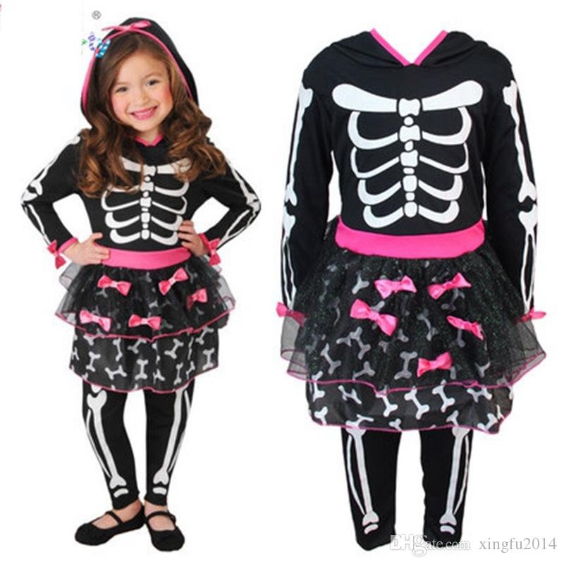 New Kids Girls Halloween Dresses Childre Girls Human Skeleton ...