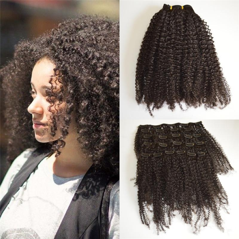 Afro Kinky Curly Clip In Human Hair Extensions Natural Color ...