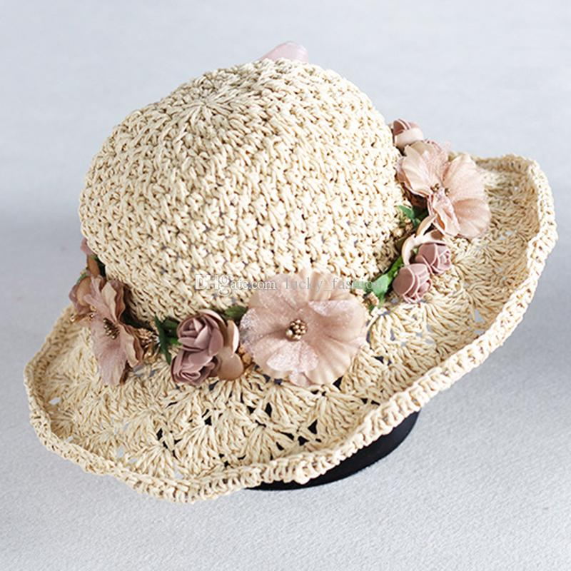 0df461bc02a Fashion Parent Child Handmade Floppy Raffia Wide Brim Flower Hats Women Kids  Girl Summer Garland Decoration Beach Sun Protection Straw Hat Hats For Men  Sun ...
