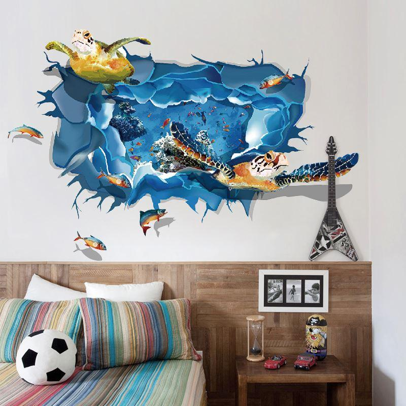 D Effect Underwater World Dolphin Wall Stickers Turtles - 3d effect wall decals