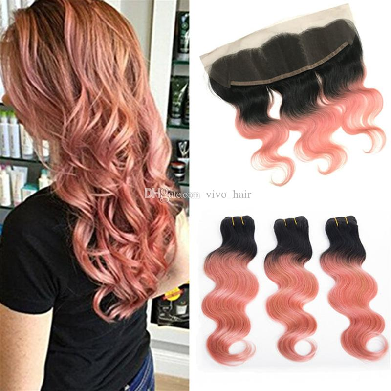 Fashion 1B Rose Gold Ombre Hair Bundles With Lace Frontal Closure Rose Gold Ombre Body Wave Hair Weaves With Lace Frontal