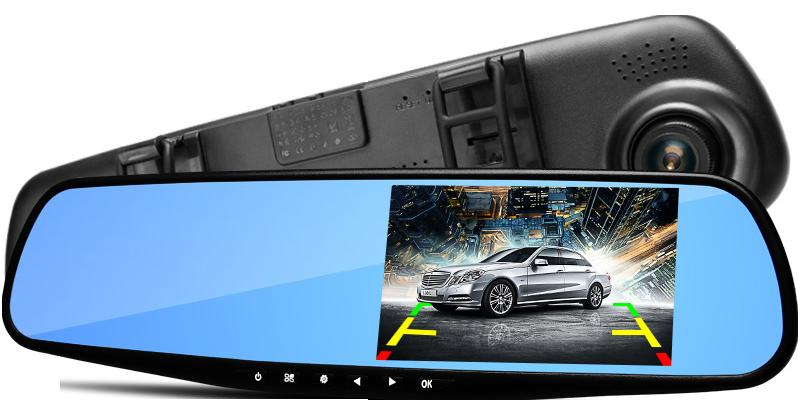 4.3 Inch Dash Cam Blue Mirror Anti-Glare Ultra HD Display Dual Lens Rearview PZ916 CAR DVR Parking Monitoring Detection One Key Lock