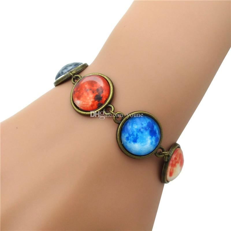 Vintage Charm Bracelet Galaxy Planet Glass Cabochon Handcrafted Jewelry Ancient Bronze Chain Bracelets for Women Gift