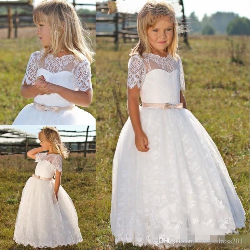 Enfants mignons Frock Designs robes de première communion pour les filles manches courtes formelles dentelle blanche robes de fille de fleur pour les mariages 2019