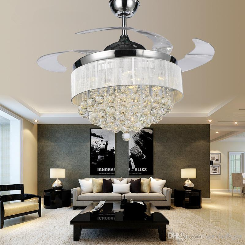Modern Chrome Crystal Led Ceiling Fans Invisible Blades - Ceiling fans with lights for living room