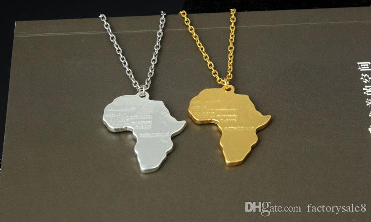 Fashion Jewelry African Map Hip Hop Gold and Silver Plated Pendants Choker Necklaces Gold Chain Bijoux For Men And Women