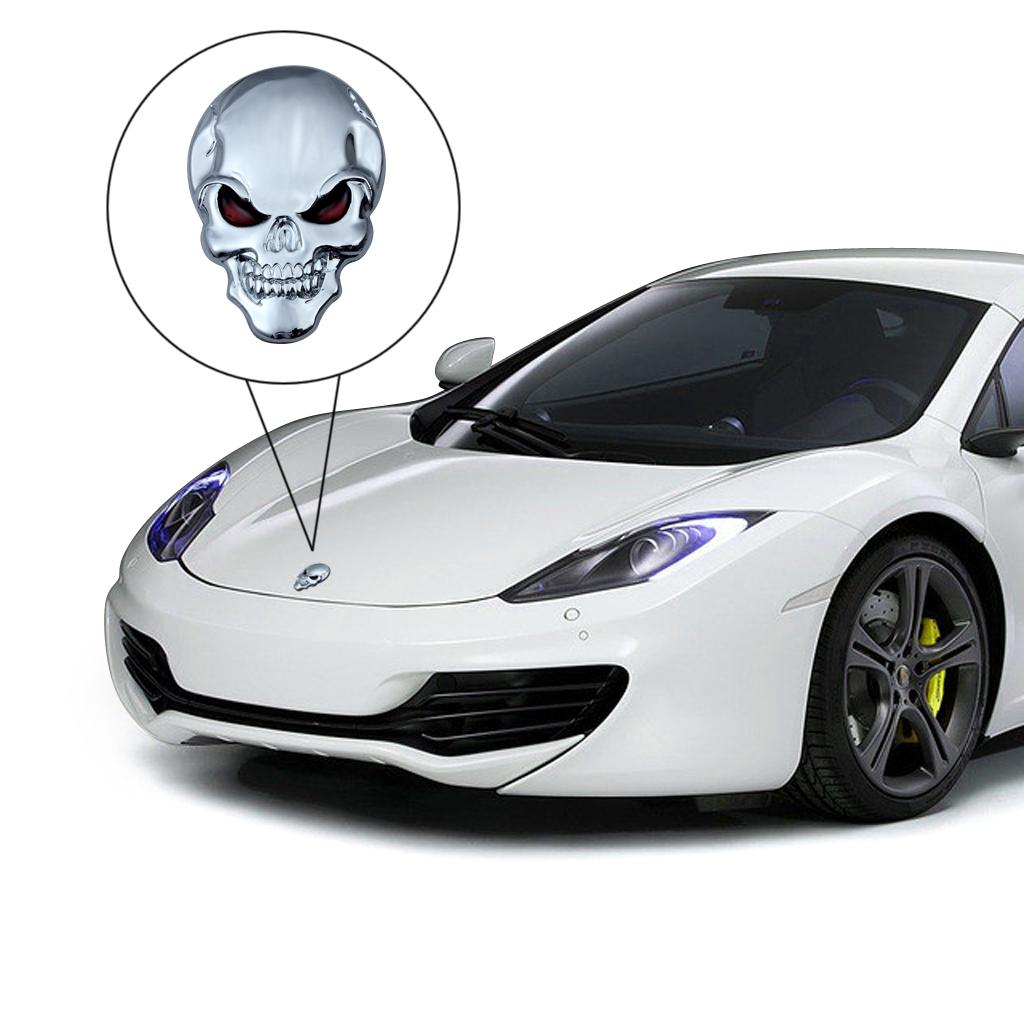 Exterior Accessories New Skull Bone Car Motorcycle Auto Chrome Silver 3d Metal Emblem Badge Decal Sticker