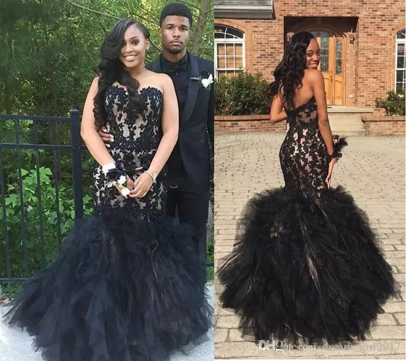 3ae077a301514 Gorgeous Black Appliqued Lace Long Prom Dresses 2017 Strapless Layered  Organza Evening Gowns Long Satin And Tulle Formal Party Dress Yellow Prom  Dresses ...