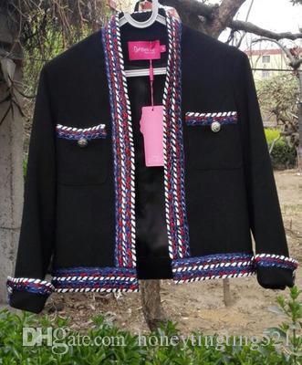 Женский осень весна дизайн OL моды работа с длинным рукавом переплетения полосы лоскутного твид шерстяного полупальто цвета блок casacos