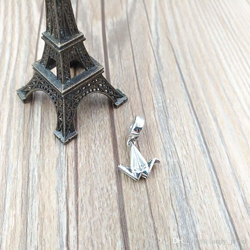 Authentic 925 Sterling Silver Beads Origami Crane Dangle Fits European Pandora Style Jewelry Bracelets & Necklace 791953