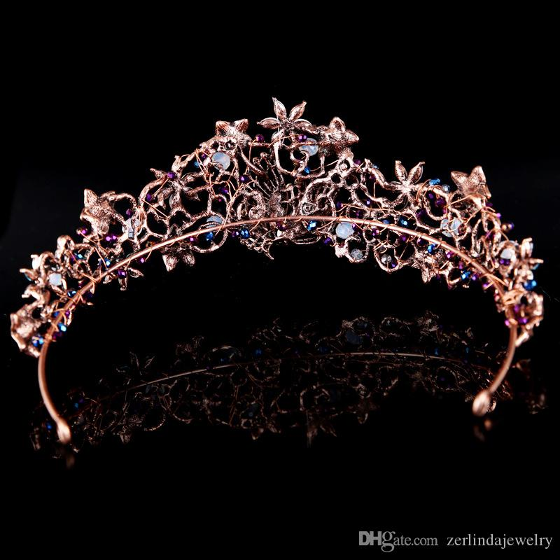 2017 Vintage Coffe Gold Plated Wedding Tiara Crown Bride Pageant Prom Hair Jewelry Accessories Bridal Queen King Crowns Earng Headdress
