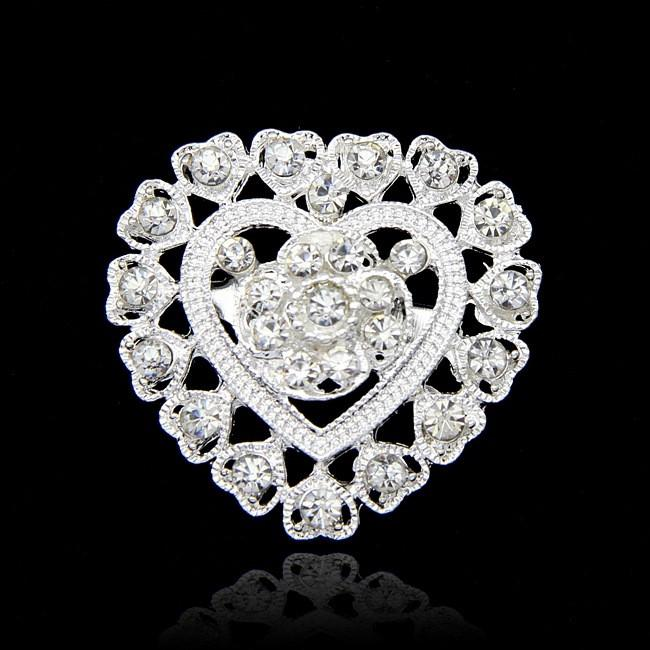Crystal Love Heart Brooch Flower Full Rhinestone Diamante Brooches Pins Boutonniere Stick Corsage Jewelry for Women Man Wedding Gift