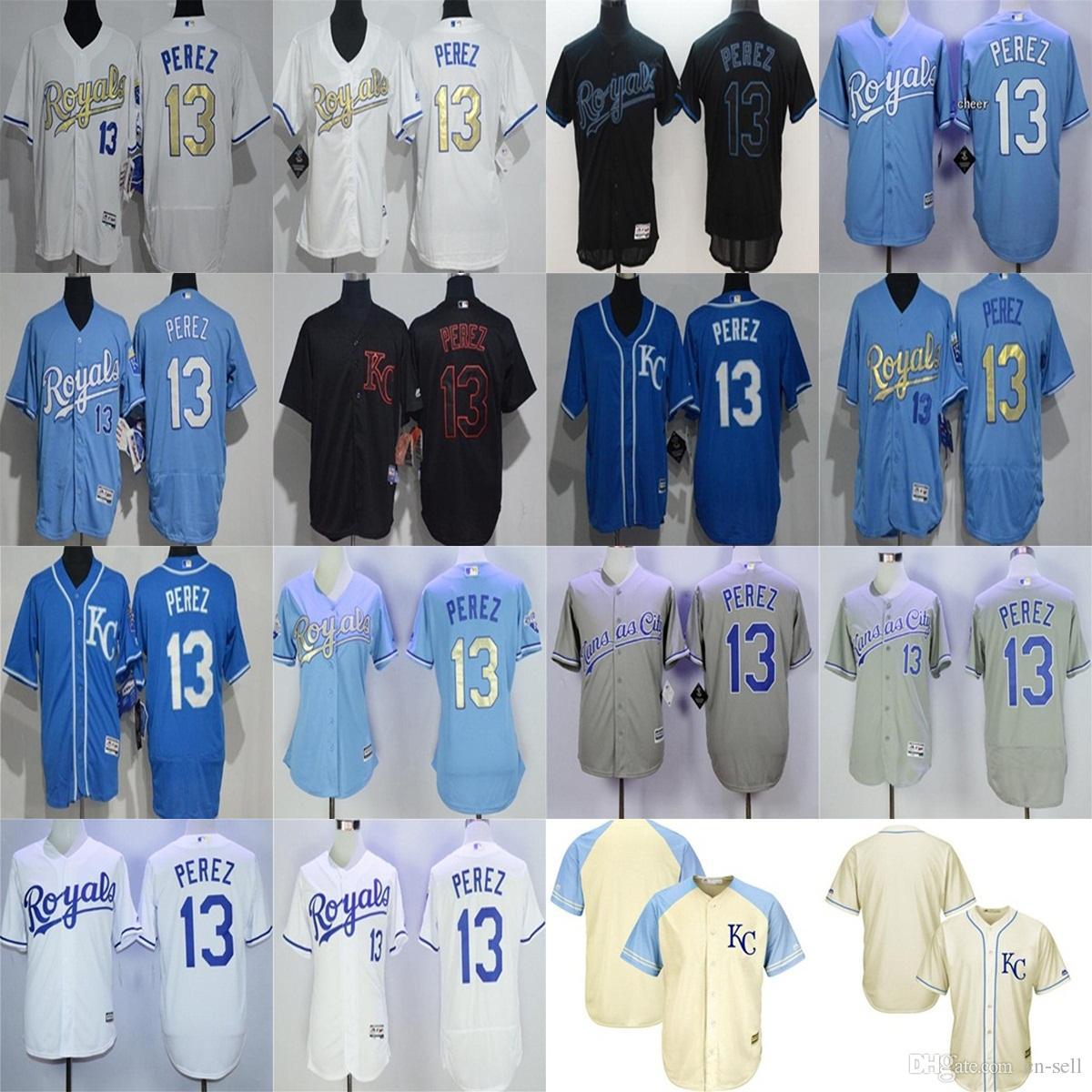 newest 8f90f 46ea7 kansas city royals 13 salvador perez light blue kids jersey