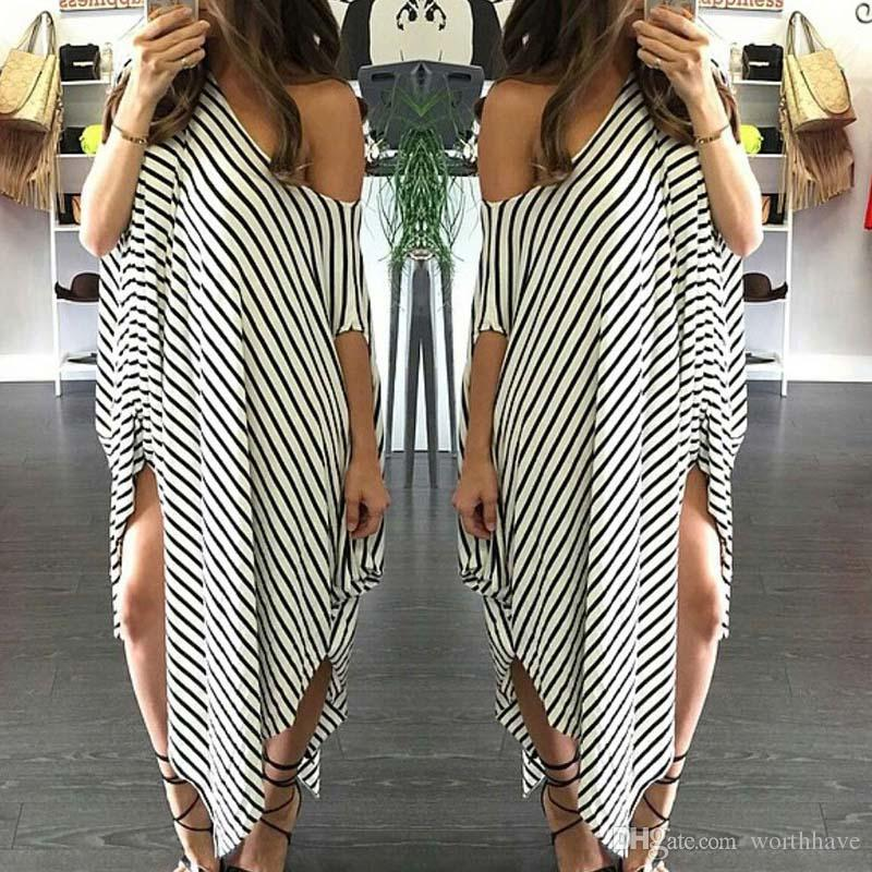 2017 Women Clothing Summer Dress Long Maxi Loose Dress Striped Batwing Sleeve Off-shoulder Split Casual Beach Wear Plus Size