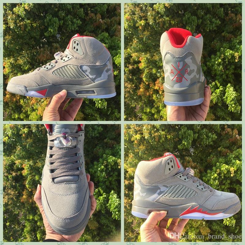 812826f3c09 2017 BAPES X Trophy Room X Air Retro 5 Camo Men Basketball Shoes Sports  Rrey Red Retros 5s Sneakers Size 8 13 Basketball Sneakers Shoes Canada From  ...