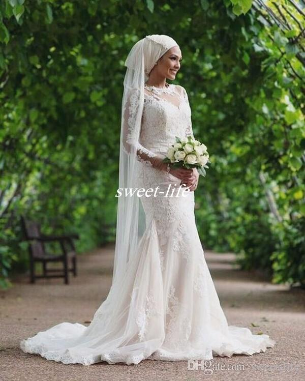 Custom Made Muslim Wedding Dresses 2017 Long Sleeve Appliqued Vintage Lace Mermaid Tulle Train Plus Size Bridal Garden Outdoor Wedding Gowns